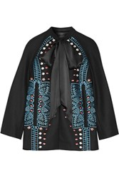 Temperley London Juniper Satin Trimmed Embroidered Wool And Cashmere Blend Jacket Black