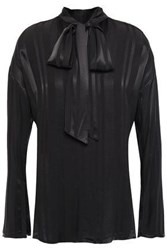Charli Woman Pussy Bow Striped Satin Crepe Blouse Charcoal