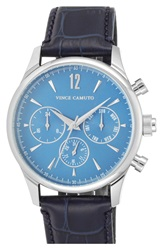 Vince Camuto Multifunction Embossed Leather Strap Watch 42Mm Navy Silver Blue