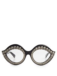 Gucci Crystal Embellished Cat Eye Sunglasses Black