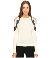 Yigal Azrouel Cold Shoulder Lace Applique Sweater Ivory