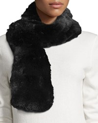Neiman Marcus Pull Through Faux Fur Scarf Black Fox