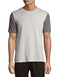 Saks Fifth Avenue Two Tone Cotton Blend Tee Heather Charcoal