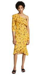 Backstage Royal Gather Dress Small Yellow Floral