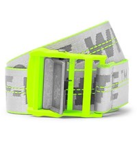 Off White 3Cm Silver Industrial Logo Jacquard Webbing Belt Yellow