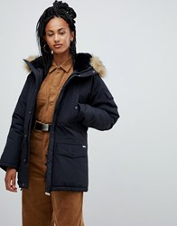 Carhartt Wip Parka With Removable Faux Fur Hood Black Black