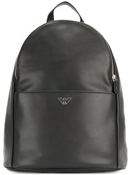 Emporio Armani Logo Plaque Backpack Black