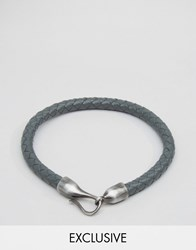 Simon Carter Leather Bracelet With Hook Fastening Exclusive To Asos Grey