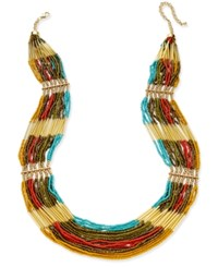 Macy's Gold Tone Multi Row Colored Bead Necklace