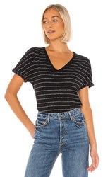 Frank And Eileen Tee Lab Deep V Neck Tee In Black. Black And White Super Fine Stripe