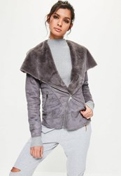 Missguided Grey Faux Shearling Waterfall Jacket