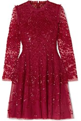 Needle And Thread Aurora Ruffled Sequined Tulle Mini Dress Red