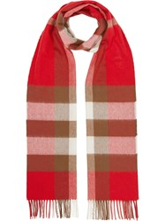 Burberry Check Cashmere Scarf Red