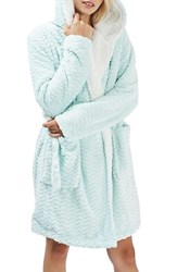Topshop Women's Teddy Hooded Chevron Robe