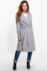 Boohoo Petite Anna Oversized Collar Belted Robe Coat Grey