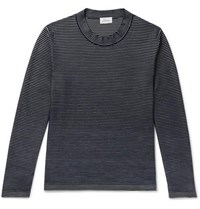 Brioni Slim Fit Striped Cotton And Silk Blend Sweater Navy