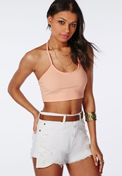 Missguided T Bar Ribbed Crop Top Peach