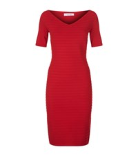 D.Exterior Ribbed V Neck Knit Dress Female Red