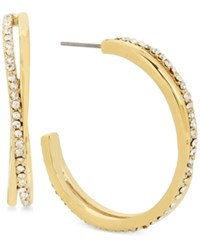 Hint Of Gold Crystal Pave Twisted Hoop Earrings In Plate Gold