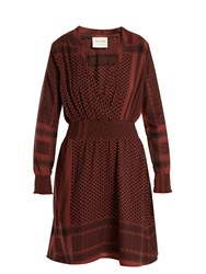Cecilie Copenhagen Zoetic V Neck Scarf Jacquard Cotton Dress Burgundy
