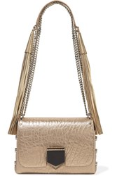 Jimmy Choo Lockett Petite Metallic Textured Leather Shoulder Bag Gold