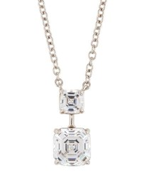 Fantasia Asscher Cut Crystal Double Drop Pendant Necklace Clear