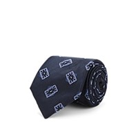 Fairfax Medallion Pattern Silk Faille Necktie Navy