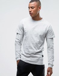 Only And Sons Long Sleeve Top With Faux Layered Arms Hem Light Grey