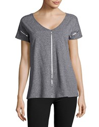 Ivanka Trump Striped V Neck Tee Grey