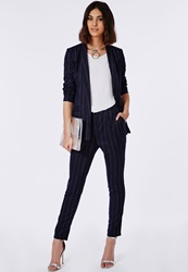 Missguided Pinstripe Cigarette Trousers Navy Blue