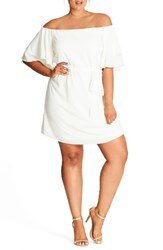 City Chic Plus Size Women's Julliet Off The Shoulder Shift Dress Ivory