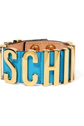 Moschino Gold Tone And Leather Bracelet Blue