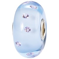 Trollbeads Sterling Silver Murano Glass Love Bead Charm Pastel Blue Lilac