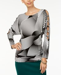 Thalia Sodi Printed Cutout Top Created For Macy's Sultry Stripes