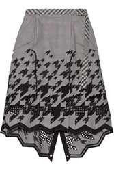 Sacai Asymmetric Broderie Anglaise Cotton Blend Skirt Black