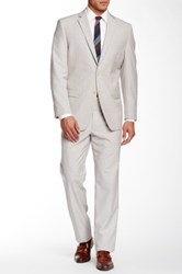 Calvin Klein Taupe Sharkskin Two Button Notch Lapel Suit Beige
