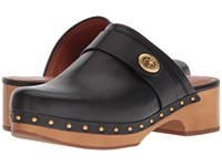 Coach Turnlock Clog Black Leather Shoes