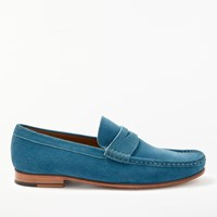 John Lewis Louis Suede Penny Loafers Turquoise