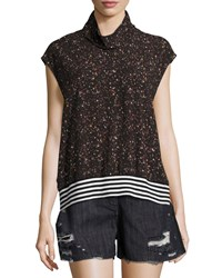 Public School Zada Mock Neck Cap Sleeve Top Black
