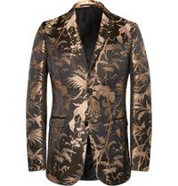 Gucci Black And Gold Slim Fit Jacquard Tuxedo Jacket