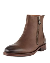 John Varvatos Mitchell Side Zip Leather Boots Brown