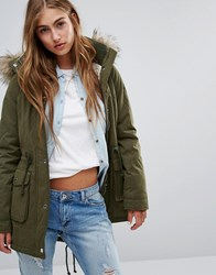 Hollister Sherpa Lined Parka Coat With Faux Fur Trim Hood Olive Green