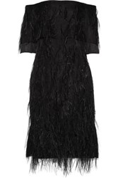 Jason Wu Feather Embellished Off The Shoulder Silk Organza Dress Black