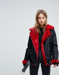 Bershka Contrast Detail Aviator Jacket Red And Black Multi