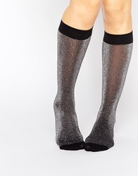 Pretty Polly Metallic Knitted Knee High Socks Black
