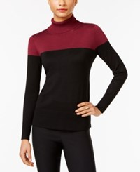Cable And Gauge Colorblocked Turtleneck Sweater Burgundy Black