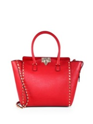 Valentino Rockstud Smooth Leather New Tote Red Taupe