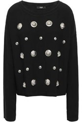 Versus By Versace Woman Button Embellished Cady Top Black