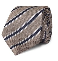 Canali 8Cm Striped Textured Silk Tie Beige