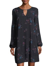 Dex Long Sleeve Floral Voile Shift Dress Multi